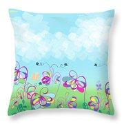 Fantasy Flower Garden - Childrens Digital Art Throw Pillow