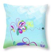 Fantasy Garden Chisdren's Art - Side Panel 2 Throw Pillow