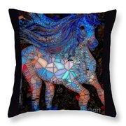 Fantasy Horse Mosaic Blue Throw Pillow