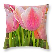 Fantasy In Pink - Tulips Throw Pillow