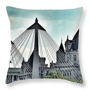Fantasy London . Old Spires New Throw Pillow