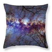 Fantasy Stars Milkyway Through The Trees Throw Pillow