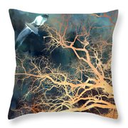Seagull Gothic Fantasy Surreal Trees And Seagull Flying Throw Pillow