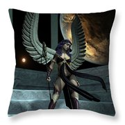 Fantasy Winged Female Warrior Throw Pillow