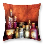 Fantasy - Wizard's Ingredients Throw Pillow by Mike Savad