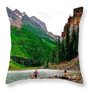 Far End Of Lake Louise In Banff Np-alberta Throw Pillow