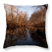 Far Mill River Reflects Throw Pillow