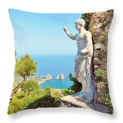Faraglioni Rocks From Mt Solaro Capri Throw Pillow