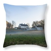 Farm At Valley Forge In Morning Throw Pillow