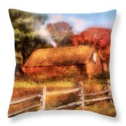 Farm - Barn - Our Cabin Throw Pillow by Mike Savad