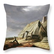 Farm Buildings In A Landscape, C.1625-28 Throw Pillow