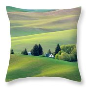 Farm Buildings Nestled In The Palouse Country Throw Pillow