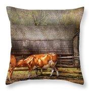 Farm - Cow - A Couple Of Cows Throw Pillow