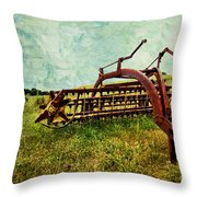 Farm Equipment In A Field Throw Pillow by Amy Cicconi