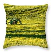 Farm Equipment In A Field Throw Pillow