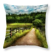 Farm - Fence - Every Journey Starts With A Path  Throw Pillow