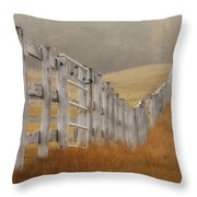 Farm Fence On Foggy Autumn Day Throw Pillow