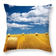 Farm Field With Hay Bales Throw Pillow