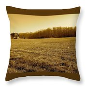 Farm Field With Old Barn In Sepia Throw Pillow