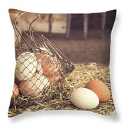 Farm Fresh Eggs Throw Pillow