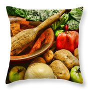 Farm Fresh Food In A Country Kitchen Throw Pillow