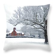 Farm House And Oak Tree Throw Pillow