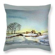 Farm In N.e Yorkshire Throw Pillow