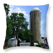 Farm - John Deere Tractor And Silos Throw Pillow