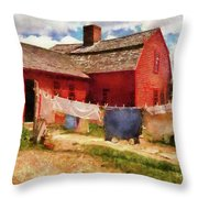 Farm - Laundry - The Clothes Line Throw Pillow