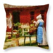 Farm - Laundry - Washing Clothes Throw Pillow