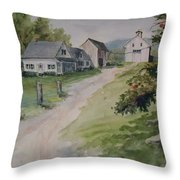 Farm On Orchard Hill Throw Pillow