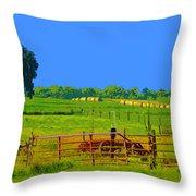 Farm Photo Digital Paint Style Throw Pillow