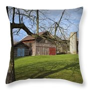Farm Scene With Barns And Silo Throw Pillow