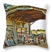 Farm Shed Digital Watercolor Throw Pillow