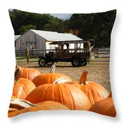 Farm Stand Pumpkins Throw Pillow by Barbara McDevitt