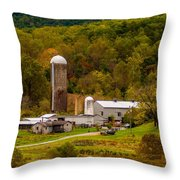Farm View With Mountains Landscape Throw Pillow