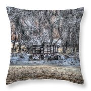 Farm Wagon Sitting In The Snow Throw Pillow