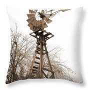 Farm Windmill In Sepia Throw Pillow