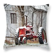 Farmall Tractor In Winter Throw Pillow