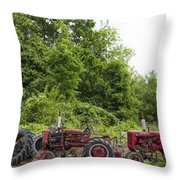Farmall Tractors All In A Row Throw Pillow