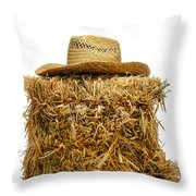 Farmer Hat On Hay Bale Throw Pillow