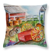 Farmers Backyard Throw Pillow