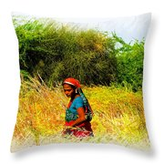 Farmers Fields Harvest India Rajasthan 2a Throw Pillow