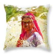 Farmers Fields Harvest India Rajasthan 8 Throw Pillow