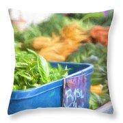 Farmer's Market Basil Throw Pillow