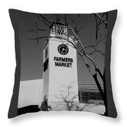 Farmers Market Bw Throw Pillow
