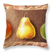 Farmers Market Drive Through Red Yellow And Green Pear Throw Pillow