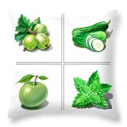 Farmers Market Gifts Green Vitamins Throw Pillow