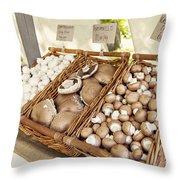 Farmers Market Mushrooms Throw Pillow