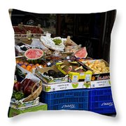Farmers Market Segovia Throw Pillow